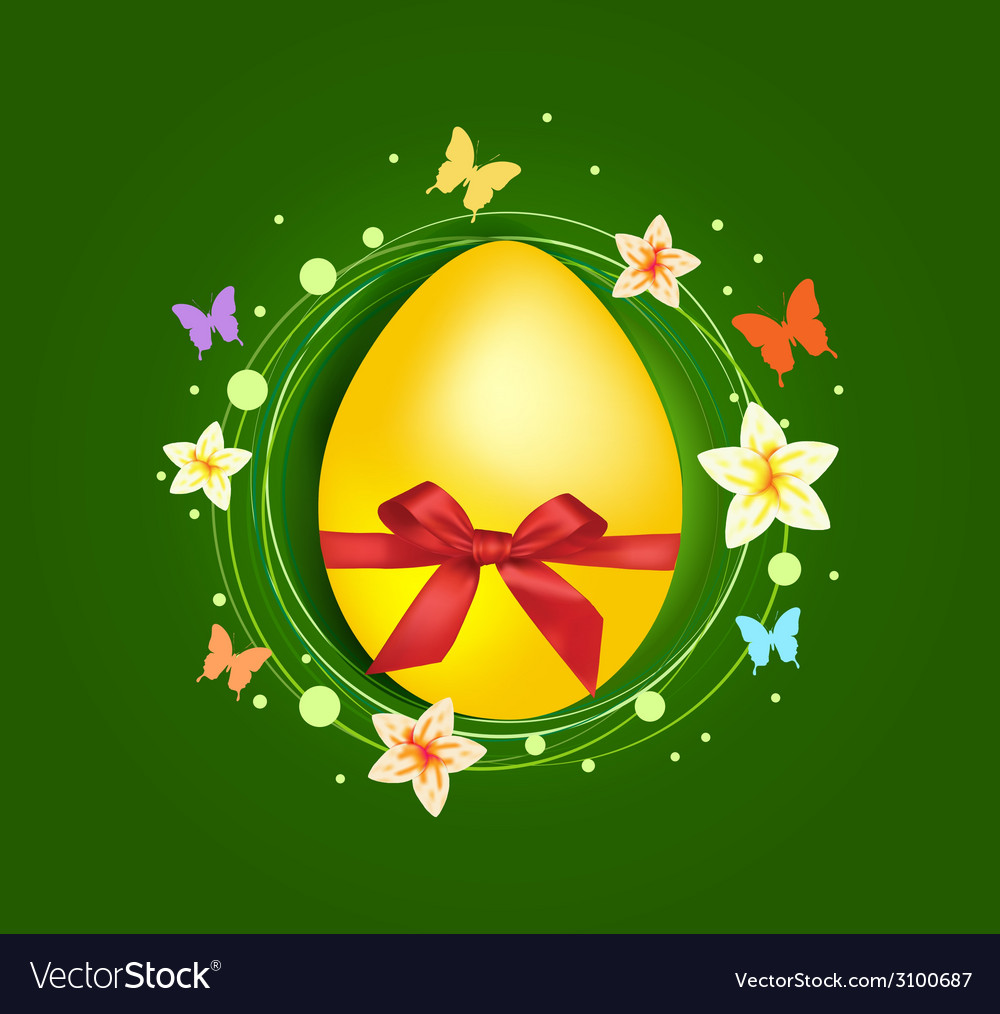 Sweet easter egg with gift bow greeting card vector | Price: 1 Credit (USD $1)