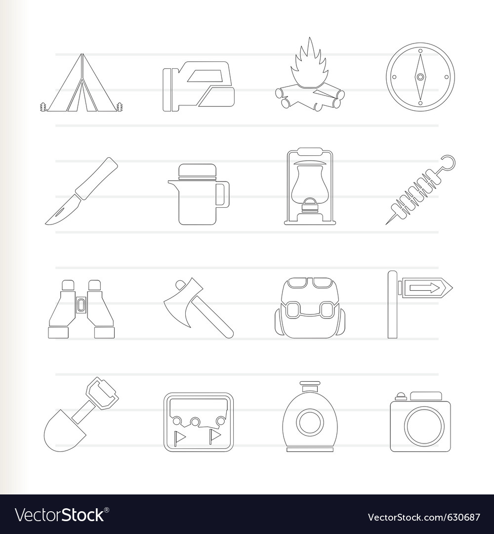 Tourism and hiking icons vector | Price: 1 Credit (USD $1)