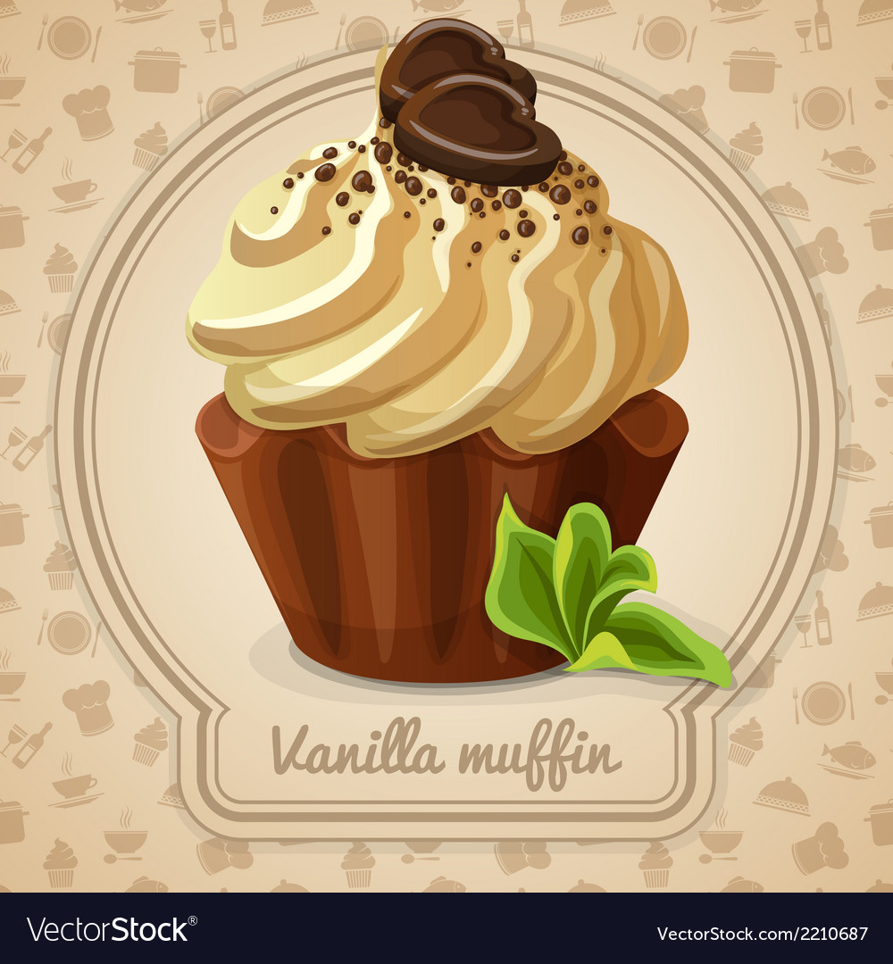 Vanilla muffin label vector | Price: 3 Credit (USD $3)