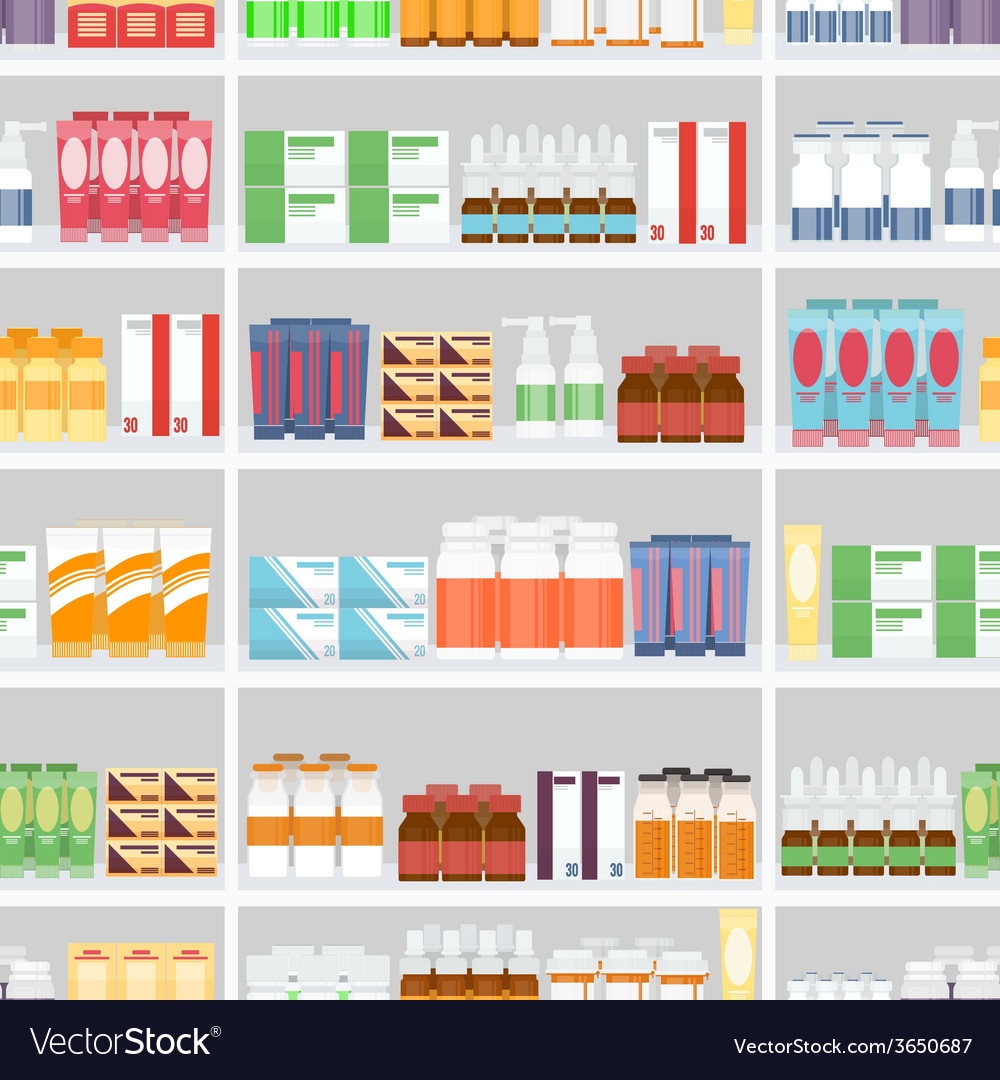 Various pills and drugs on shelves vector | Price: 1 Credit (USD $1)