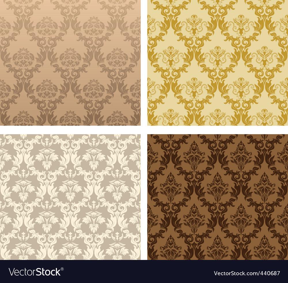Vintage damask patterns vector | Price: 1 Credit (USD $1)