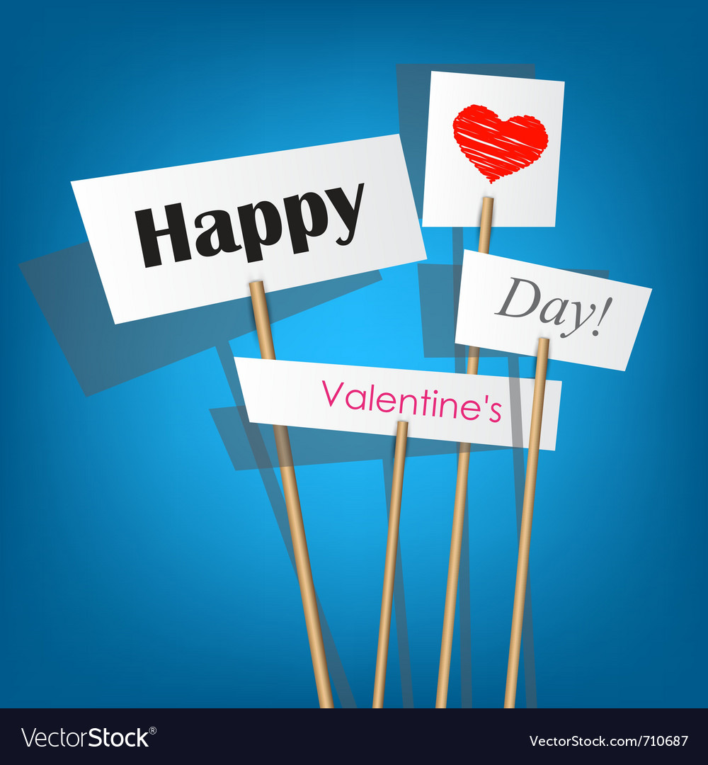 White posters with inscription - happy valentines vector | Price: 1 Credit (USD $1)