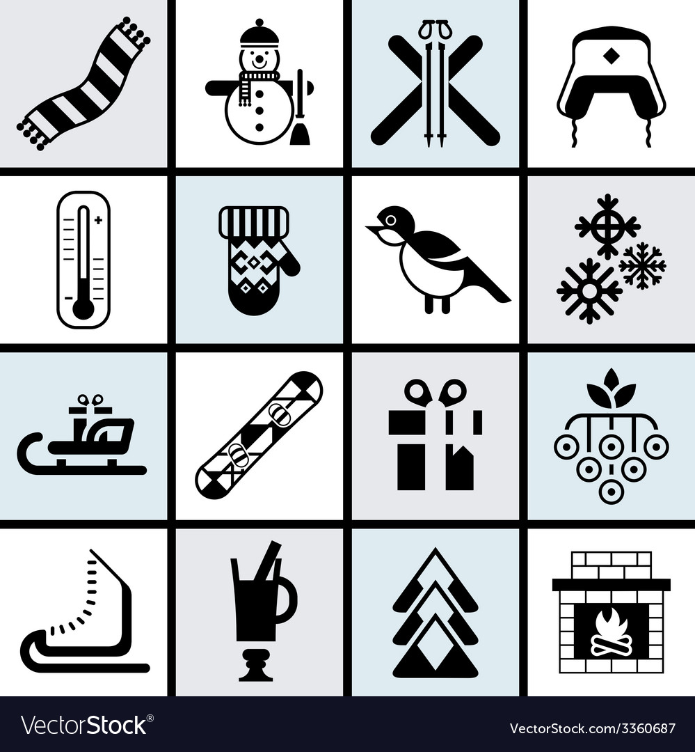 Winter icons set black vector | Price: 1 Credit (USD $1)