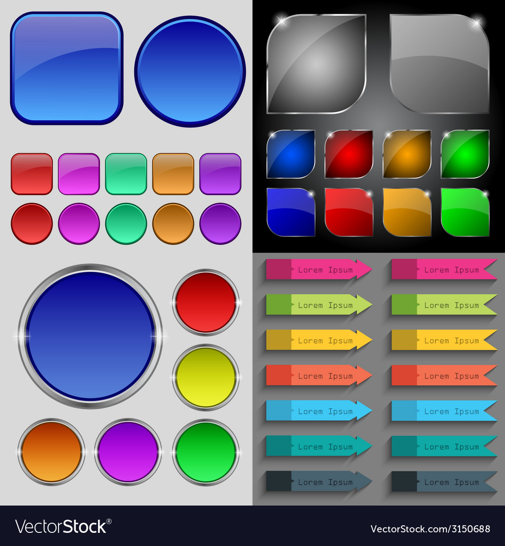 Big set of different colored buttons trendy modern vector | Price: 1 Credit (USD $1)