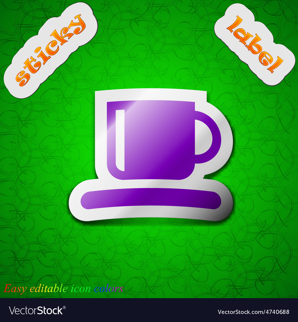 Coffee cup icon sign symbol chic colored sticky vector | Price: 1 Credit (USD $1)