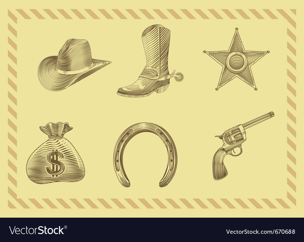 Cowboy icon set in engraving style vector | Price: 1 Credit (USD $1)