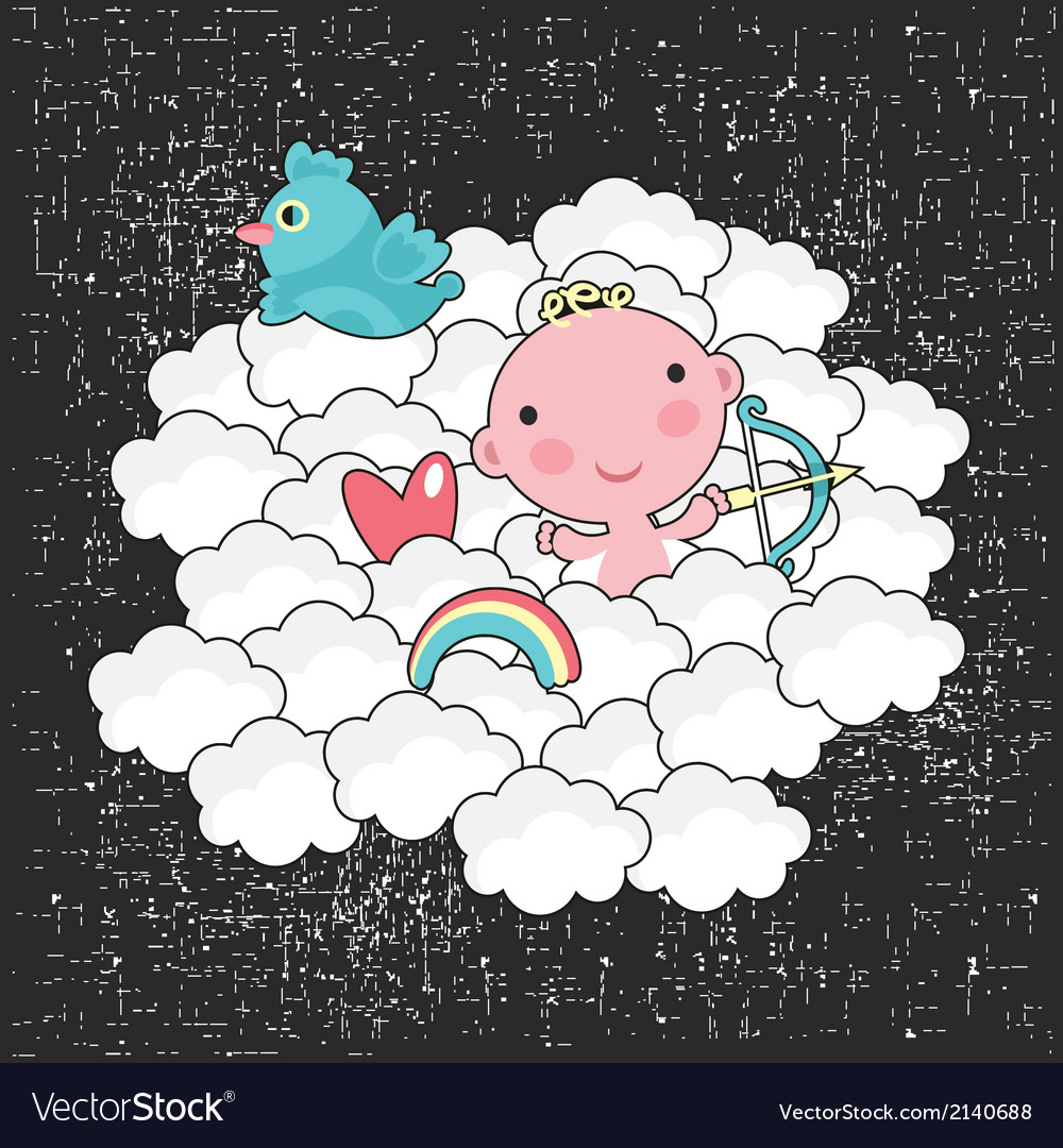 Cute baby cupid in the blue sky vector | Price: 1 Credit (USD $1)