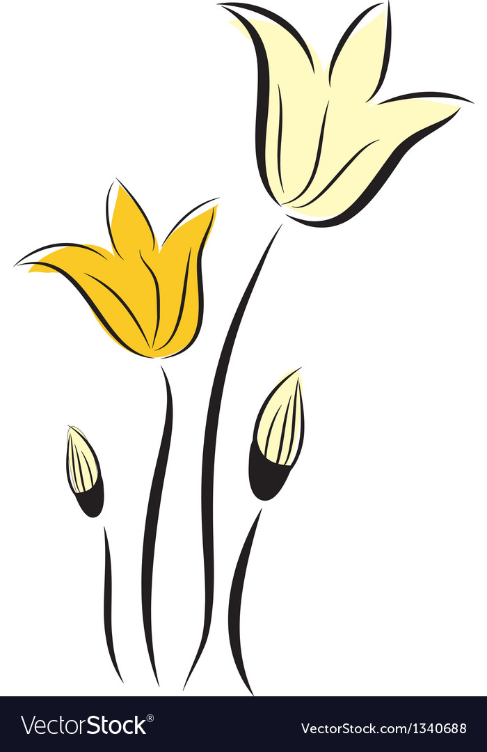 Decorative background with tulips flowers vector | Price: 1 Credit (USD $1)