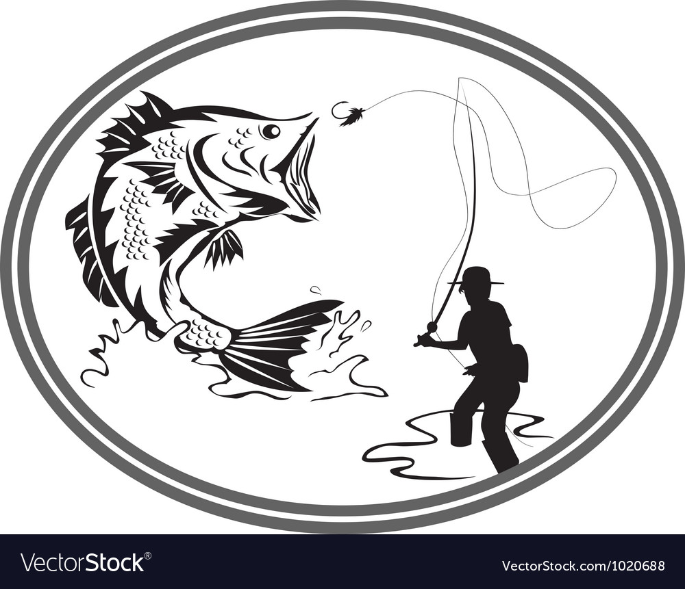 Fishing bass emblem vector | Price: 1 Credit (USD $1)