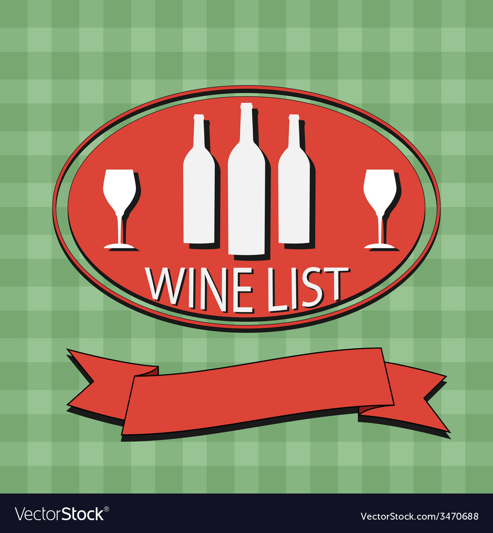 Flat wine list menu on striped background fabric vector | Price: 1 Credit (USD $1)