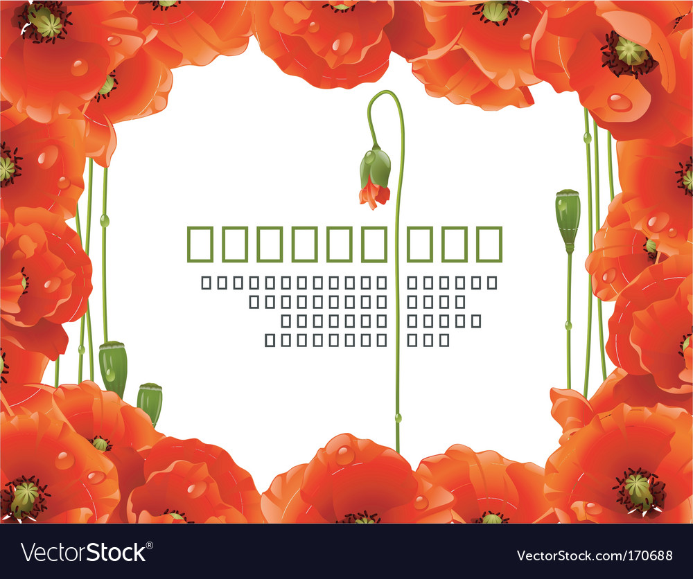 Floral poppy frame vector | Price: 3 Credit (USD $3)