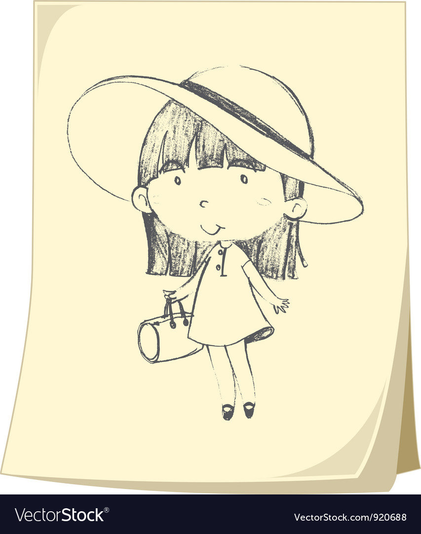 Girl sketched on paper vector | Price: 3 Credit (USD $3)