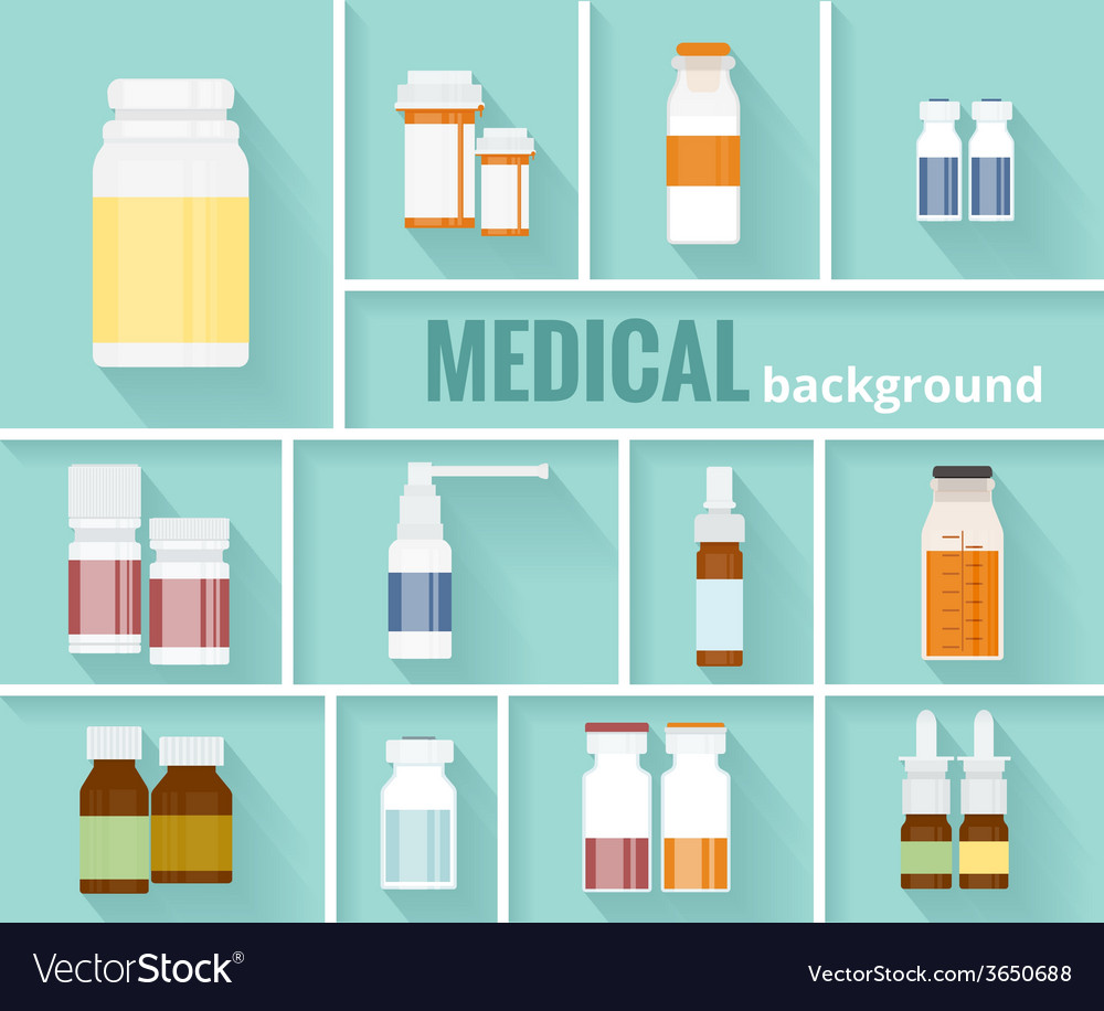 Medication bottles for medical background design vector | Price: 1 Credit (USD $1)