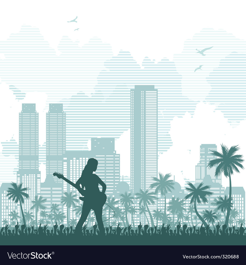 Music and city background vector | Price: 1 Credit (USD $1)