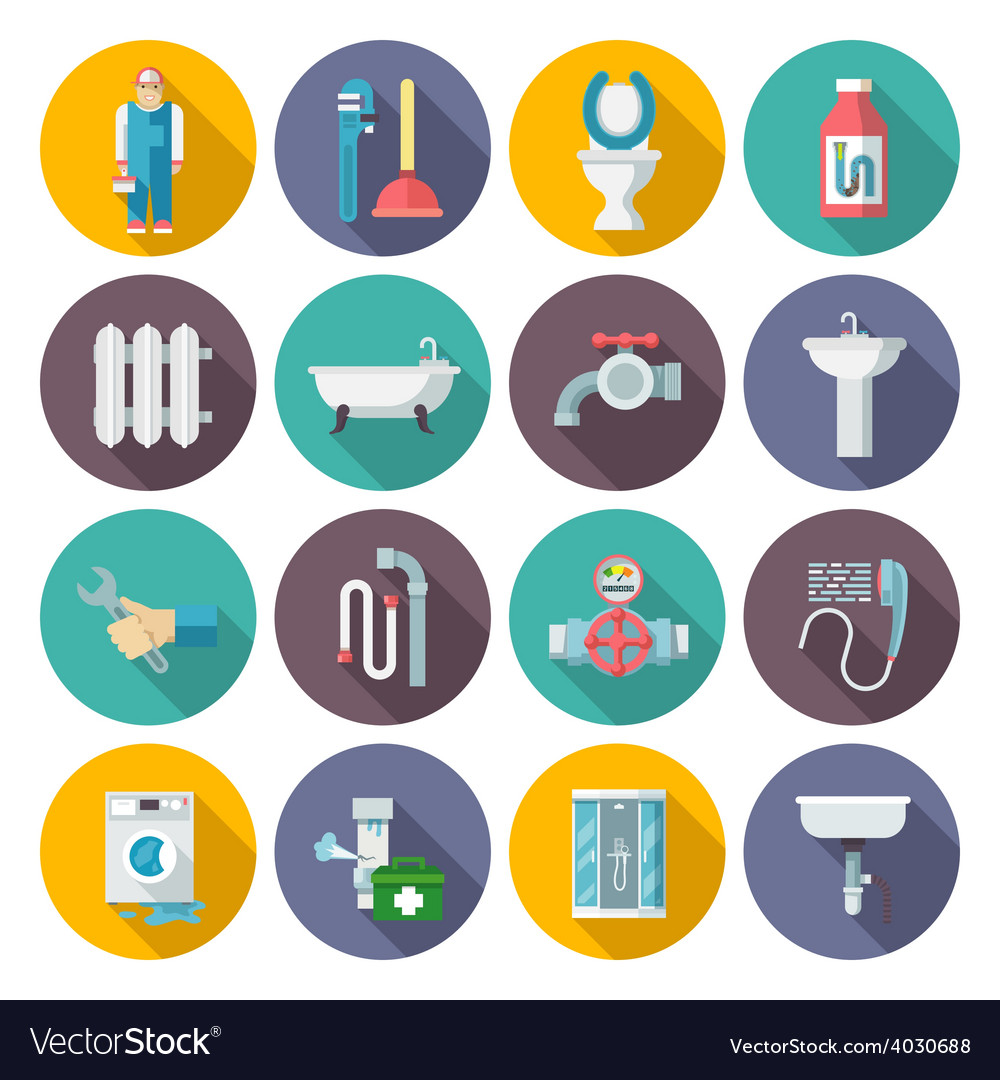 Plumbing icons set vector | Price: 1 Credit (USD $1)