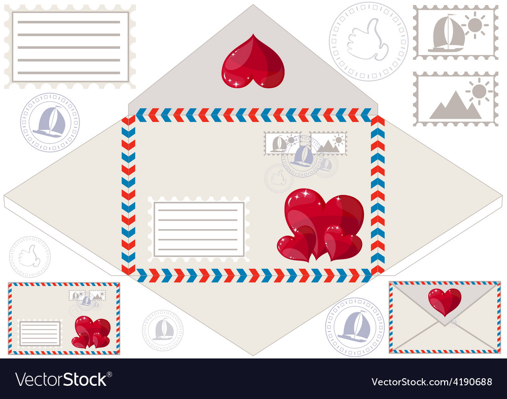 Scan to print an envelope stamped and hearts vector | Price: 1 Credit (USD $1)