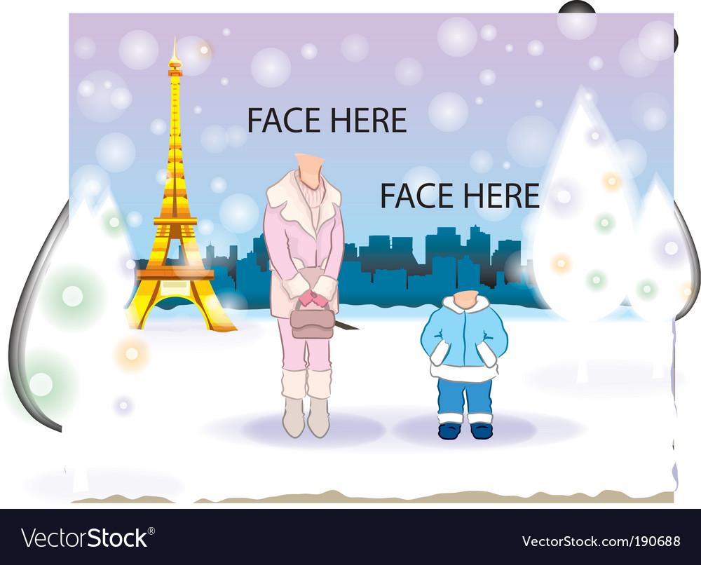 Snowing at paris vector | Price: 1 Credit (USD $1)