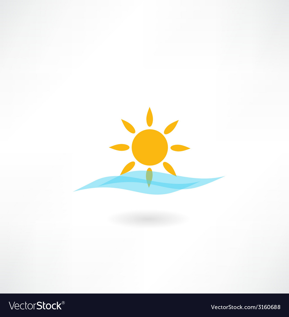 Sun with sea wave icon vector | Price: 1 Credit (USD $1)