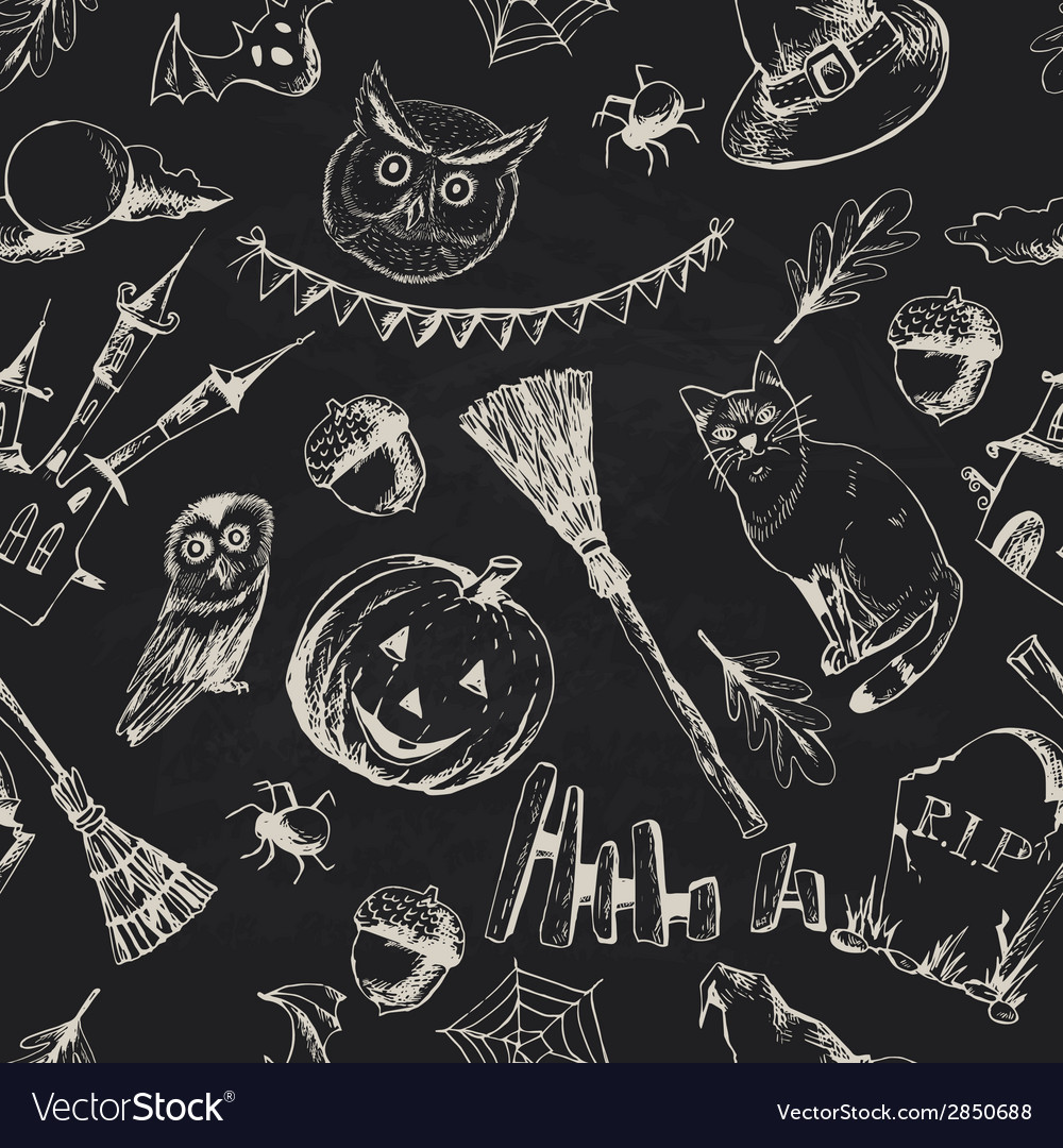 Vintage hand drawn halloween seamless background vector | Price: 1 Credit (USD $1)