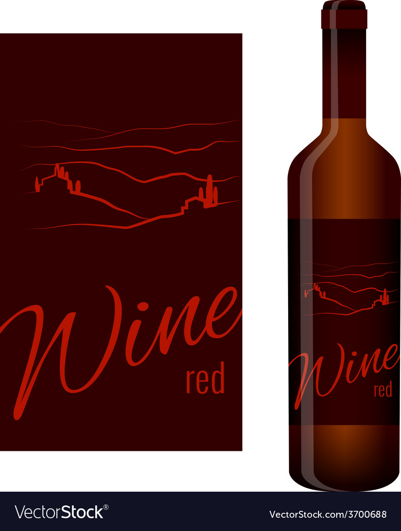 Wine label and bottle of wine vector | Price: 1 Credit (USD $1)