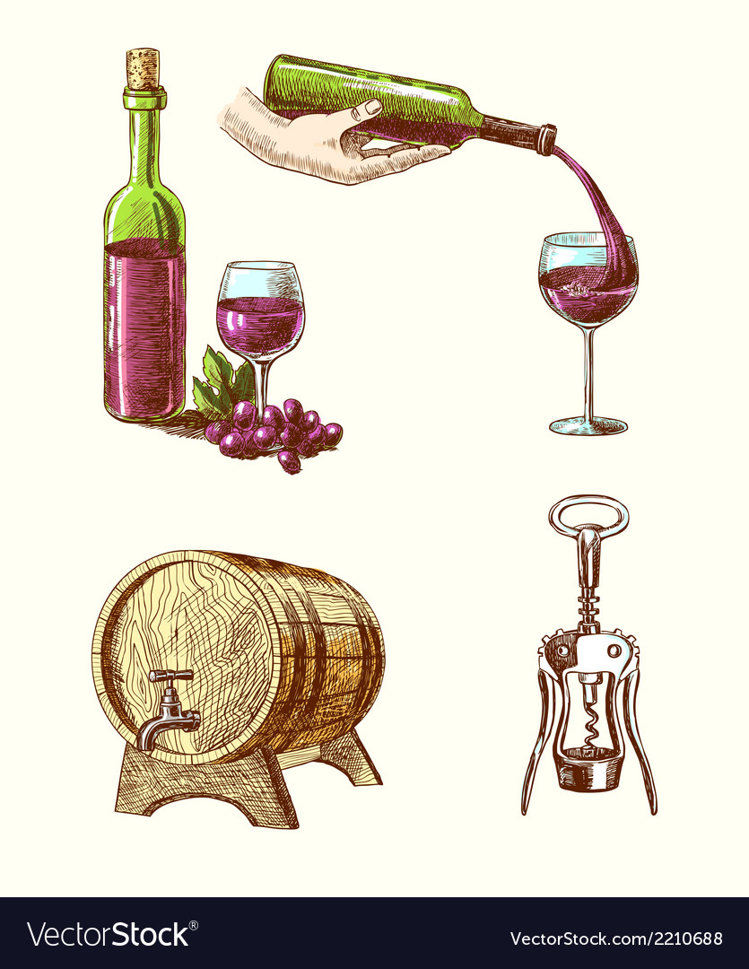 Wine sketch decorative set vector | Price: 3 Credit (USD $3)