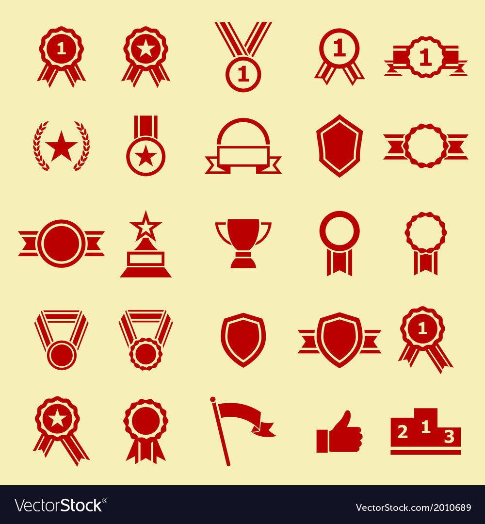 Award color icons on yellow background vector | Price: 1 Credit (USD $1)