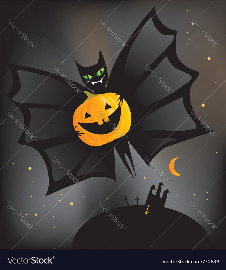 Bat with pumpkin vector | Price: 1 Credit (USD $1)