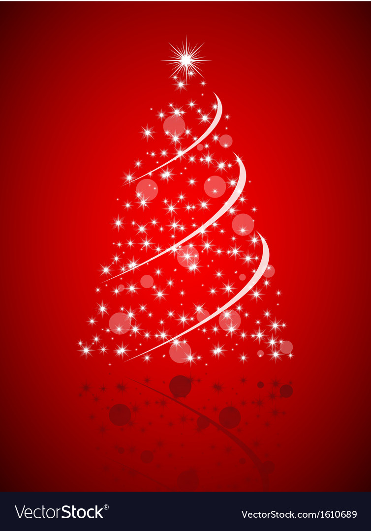 Christmas tree from stars on red background vector | Price: 1 Credit (USD $1)