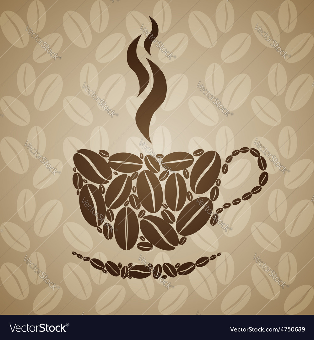 Coffee cup on seamless background with coffee vector | Price: 1 Credit (USD $1)