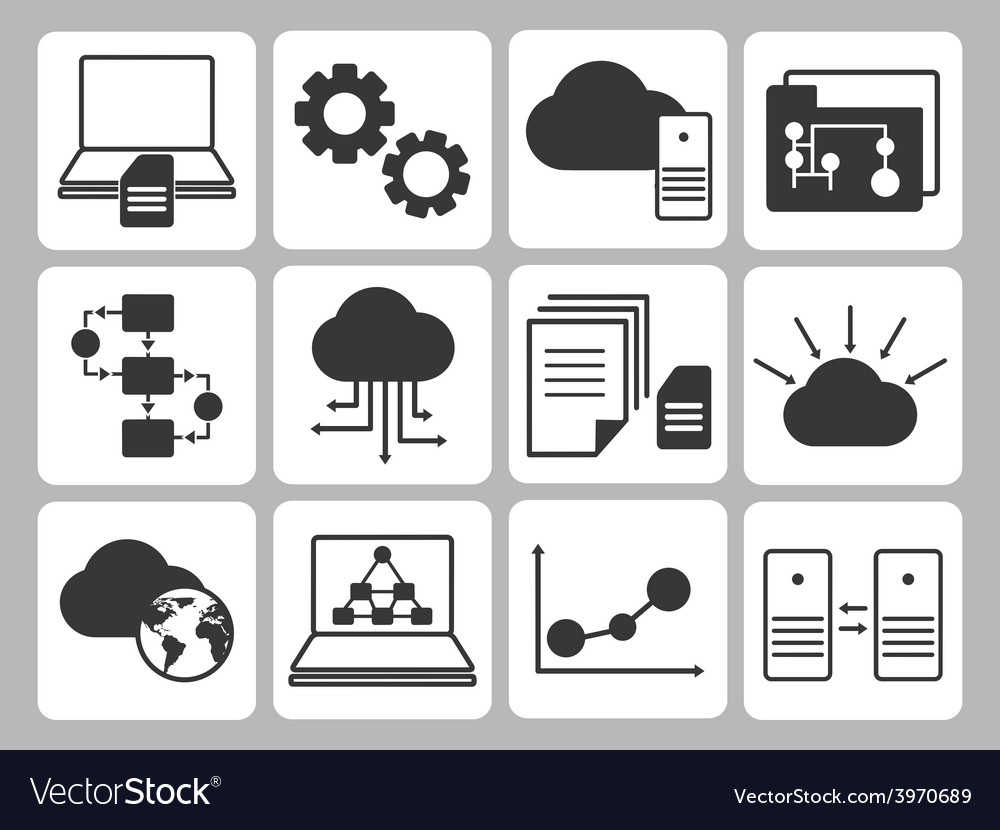 Database icons set vector | Price: 1 Credit (USD $1)