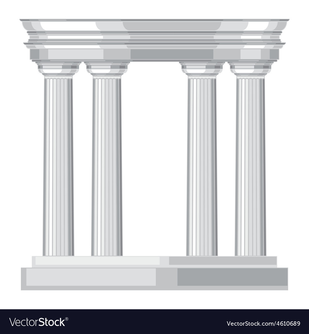 Doric realistic antique greek temple with columns vector | Price: 1 Credit (USD $1)
