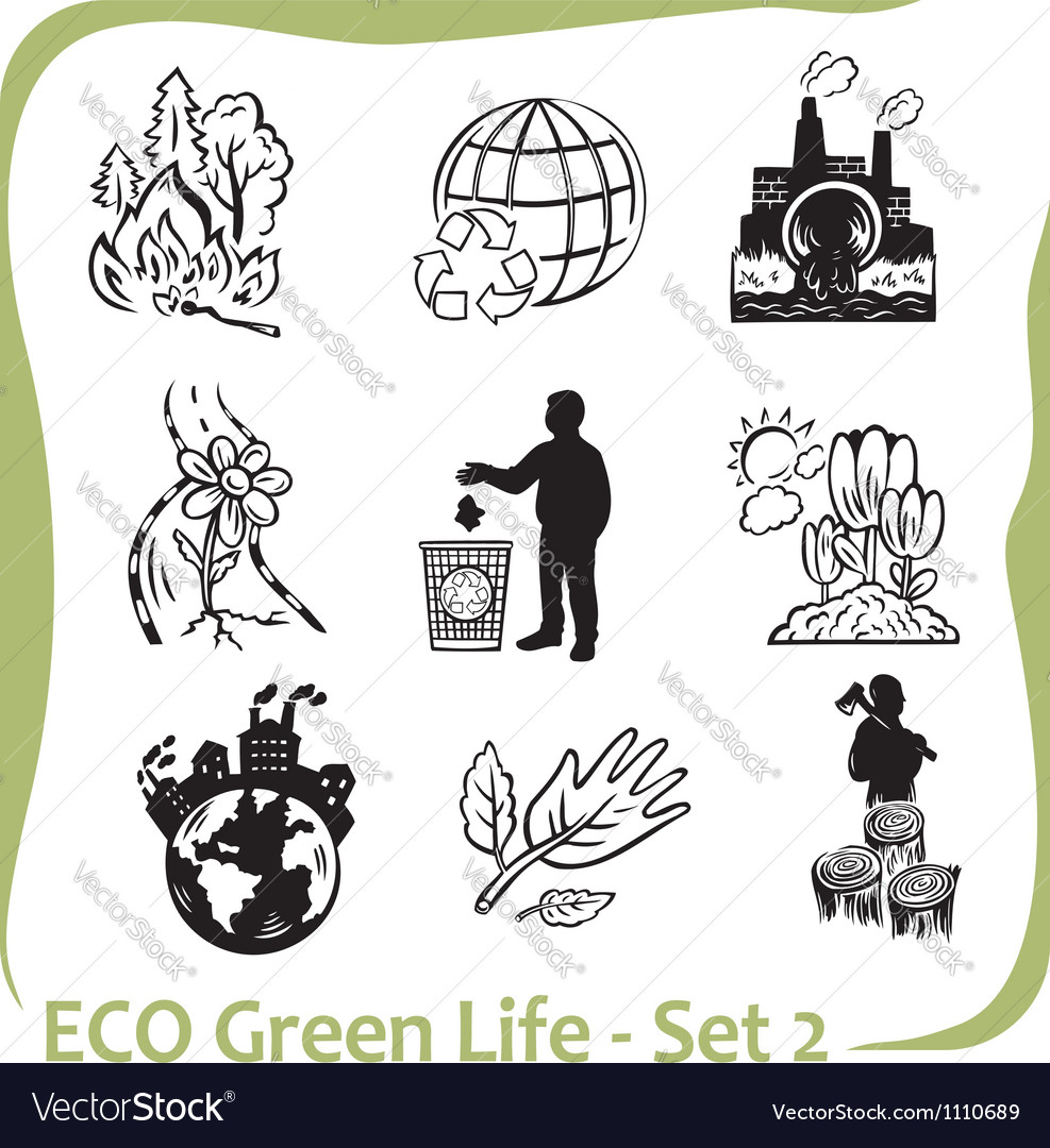Eco - green life - set 2 vector | Price: 1 Credit (USD $1)