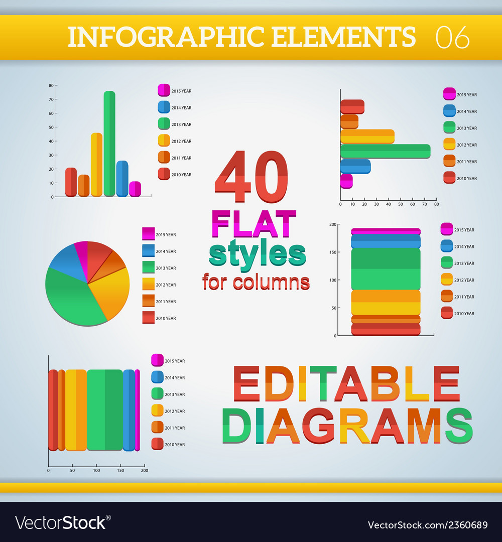 Editable info graphic diagrams in flat colors with vector | Price: 1 Credit (USD $1)