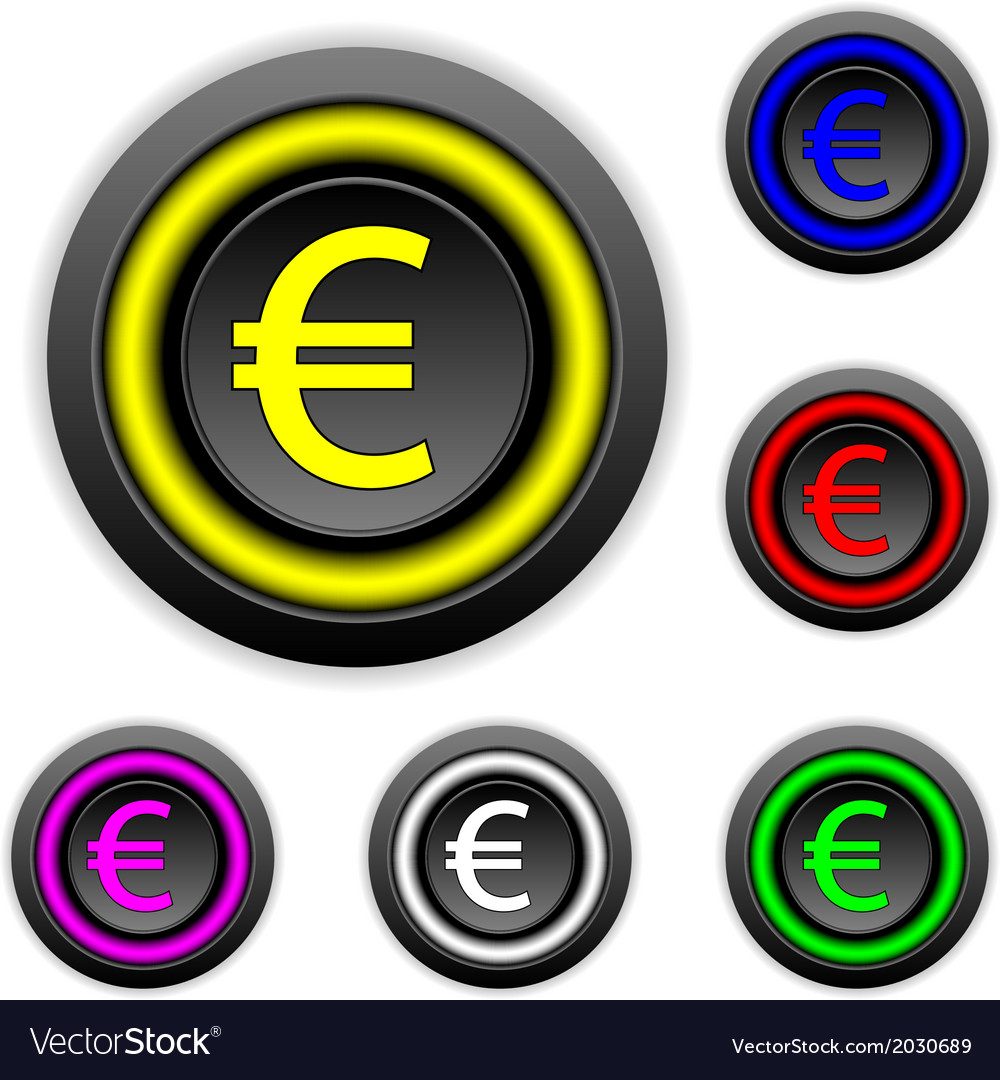 Euro buttons set vector | Price: 1 Credit (USD $1)