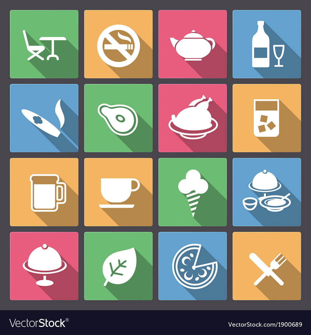 Food and alcohol drink icons in flat design vector | Price: 1 Credit (USD $1)