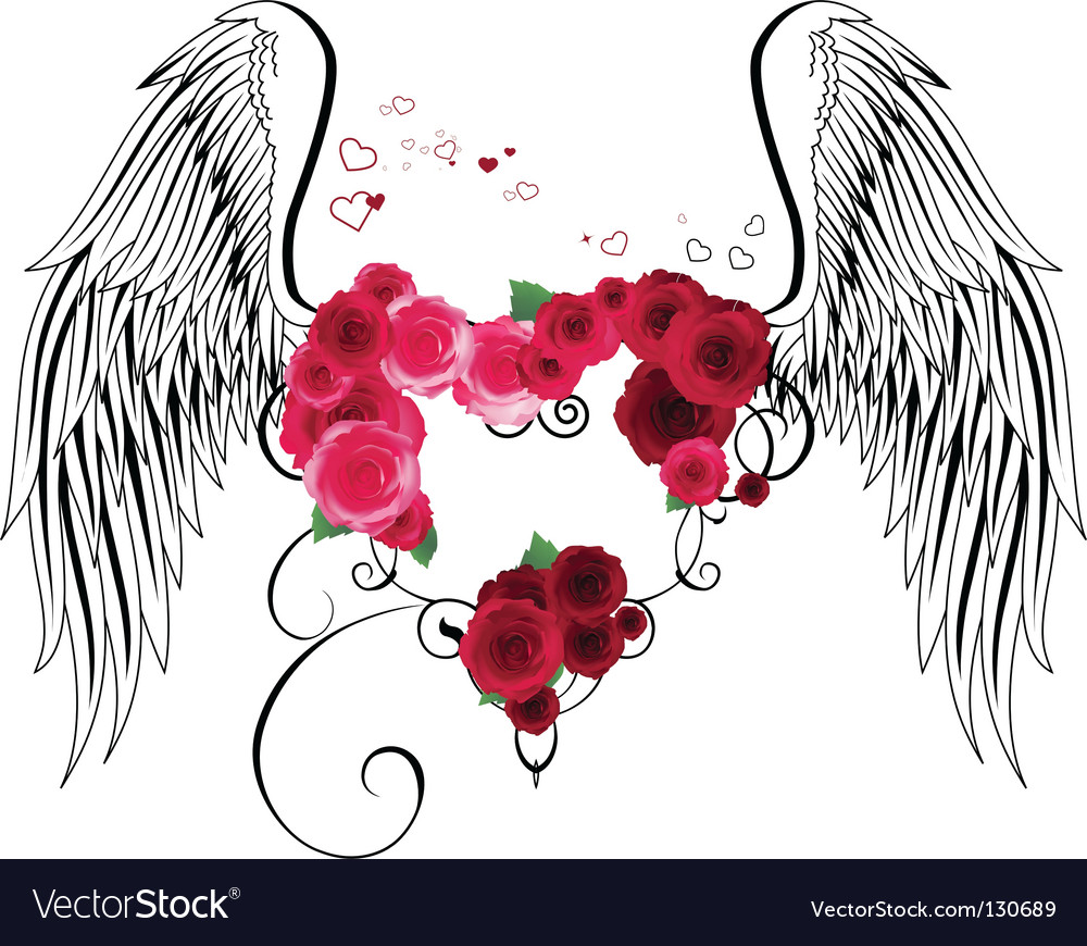 Heart with roses and wings vector | Price: 1 Credit (USD $1)
