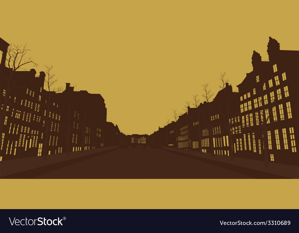Houses and the river in the old city vector | Price: 1 Credit (USD $1)