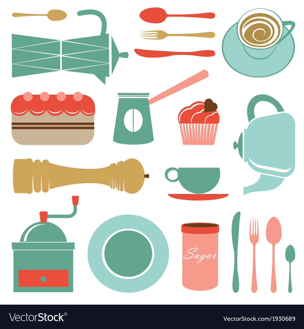 Kitchen set in soft colors vector | Price: 1 Credit (USD $1)
