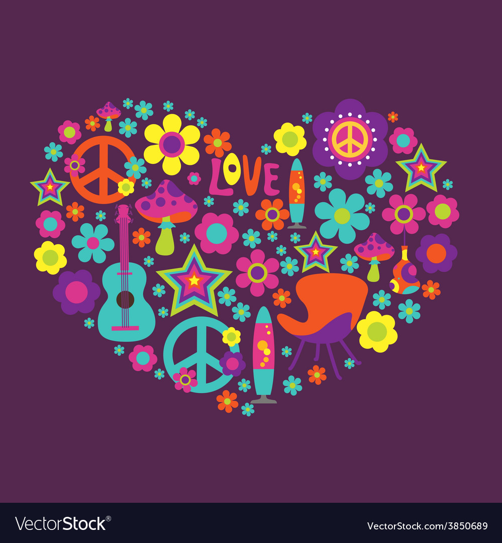 Print with floral heart and psychedelic elements vector