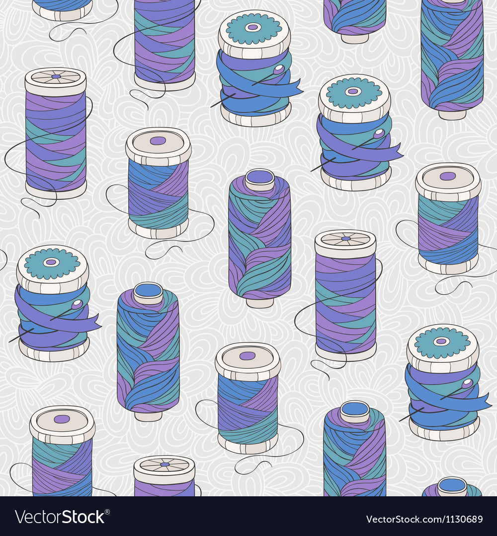 Spools of threads seamless pattern vector | Price: 1 Credit (USD $1)