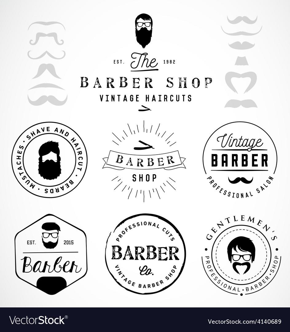 Vintage barber shop badges and labels vector | Price: 1 Credit (USD $1)