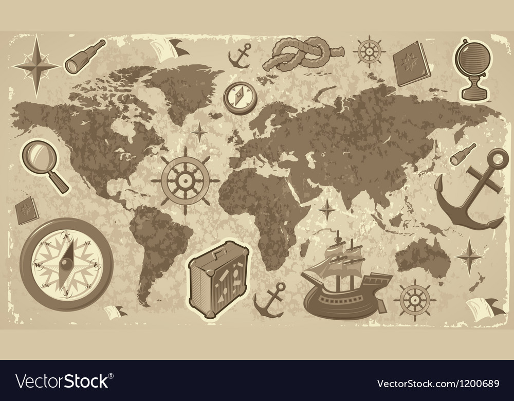 World map with travel icons vector | Price: 1 Credit (USD $1)