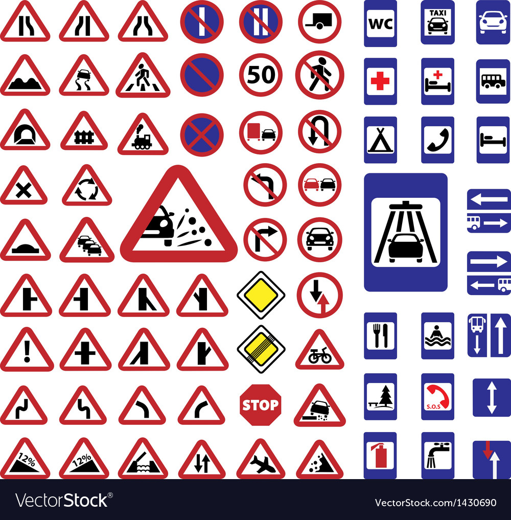 Big traffic signs set vector | Price: 1 Credit (USD $1)