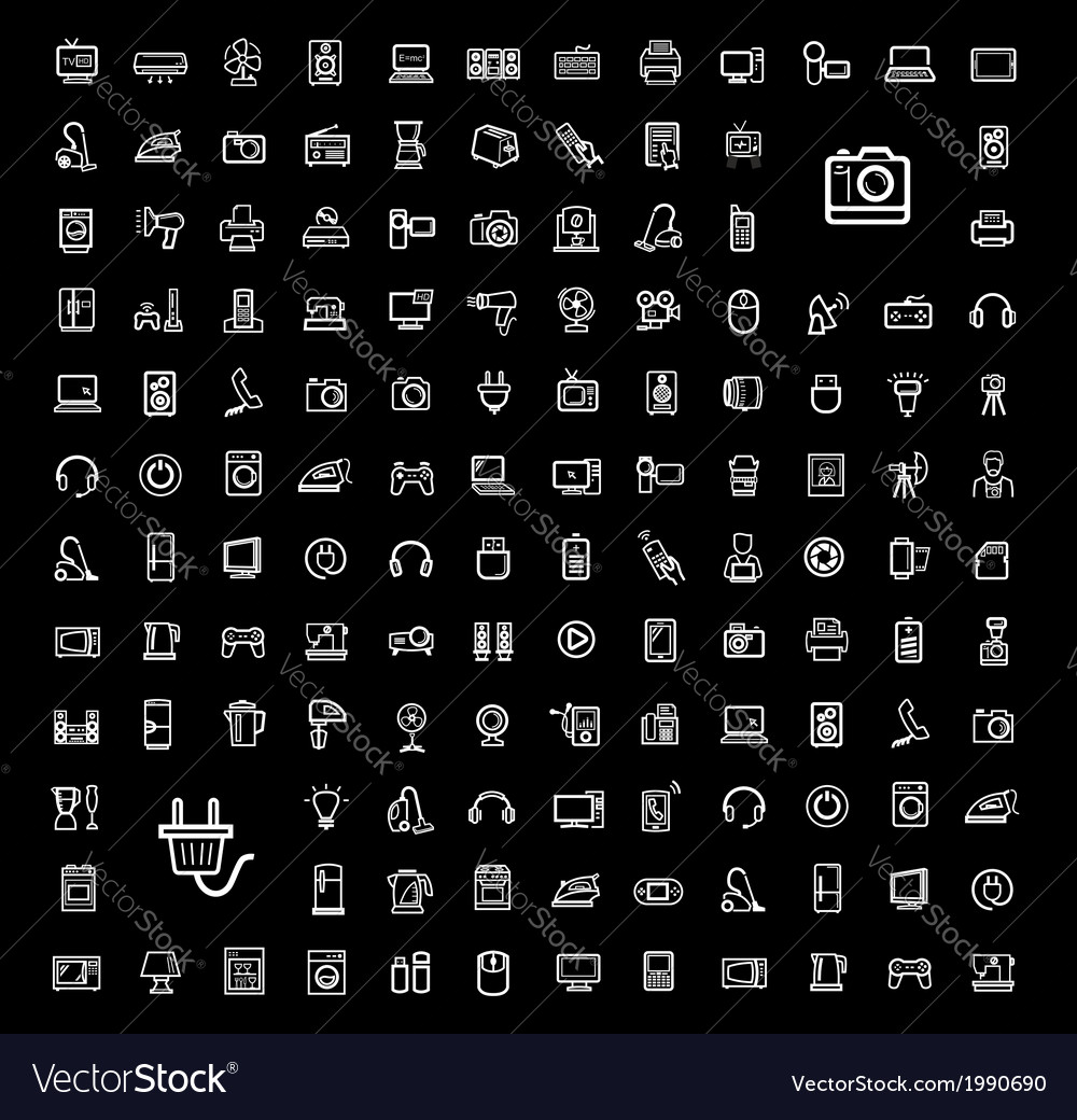 Black video and audio icons set vector | Price: 1 Credit (USD $1)