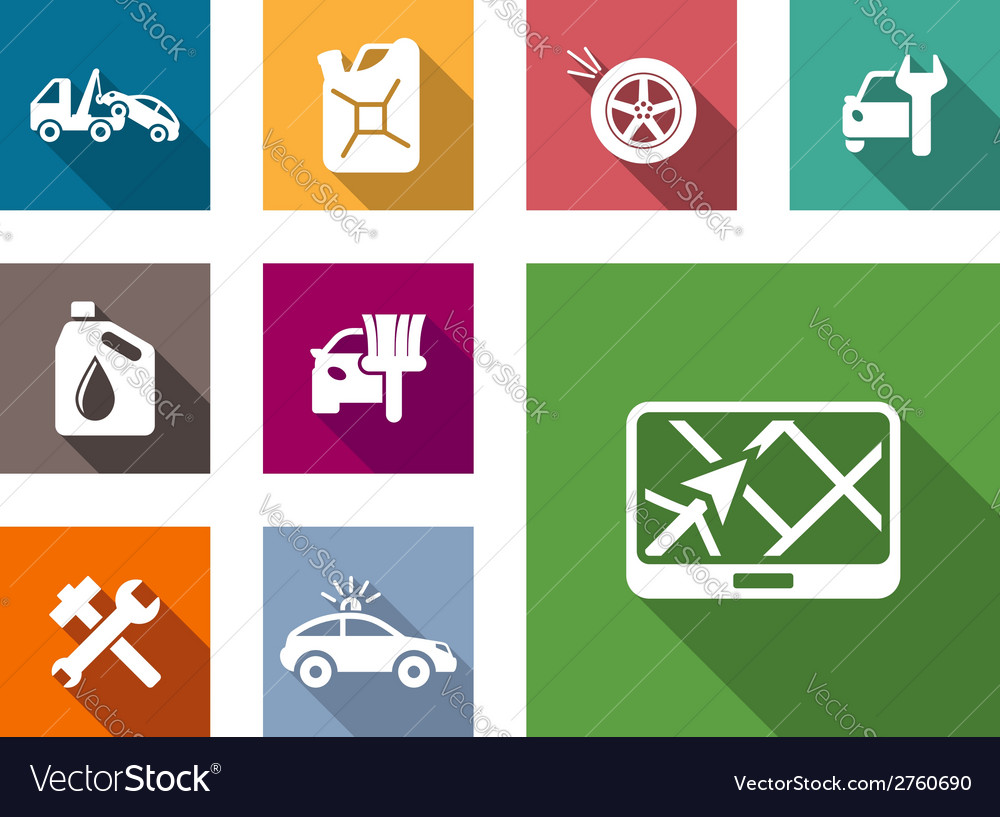 Car service flat icons set vector | Price: 1 Credit (USD $1)