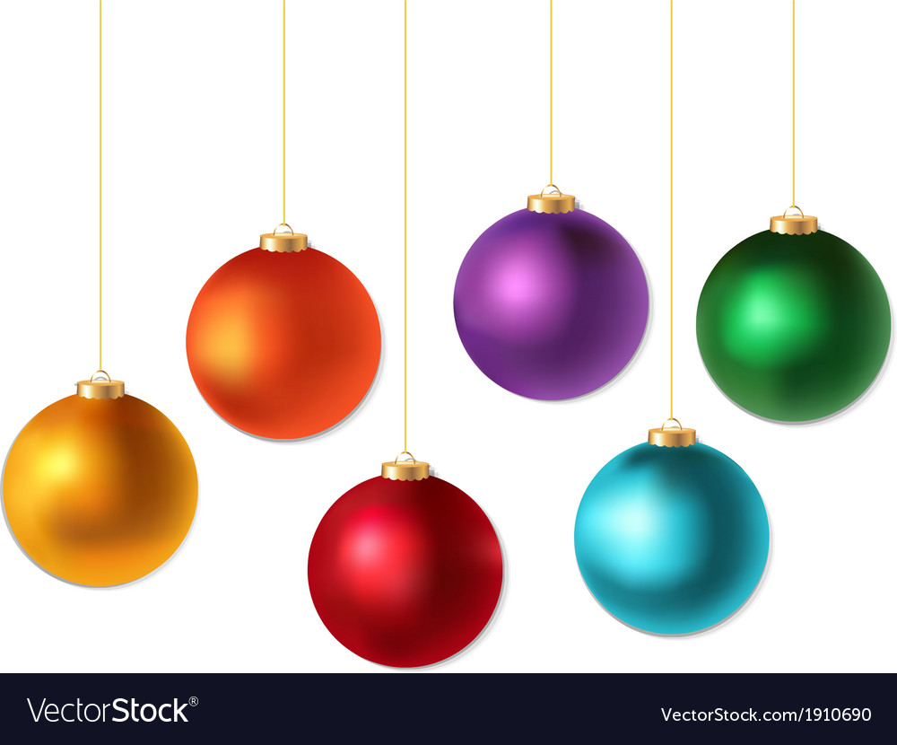 Color christmas balls set vector | Price: 1 Credit (USD $1)