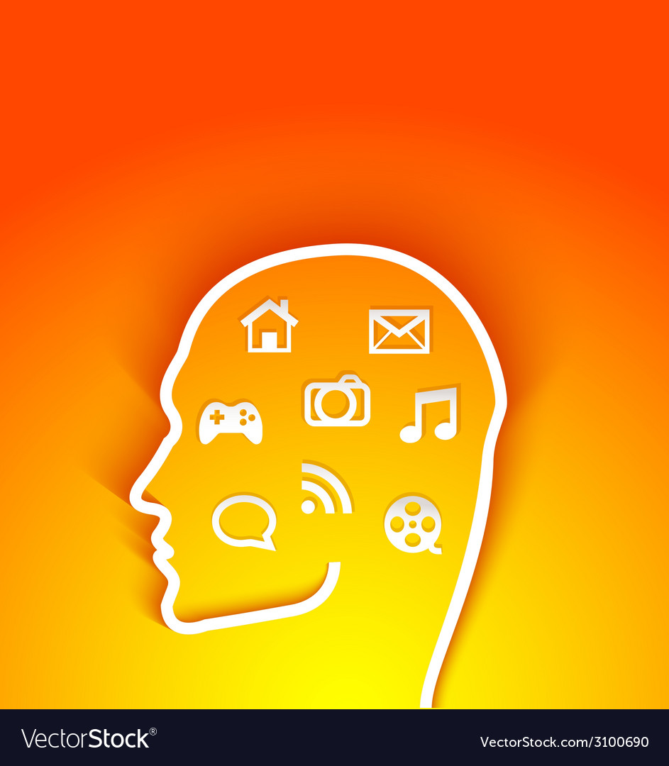 Human head with multimedia elements vector   Price: 1 Credit (USD $1)