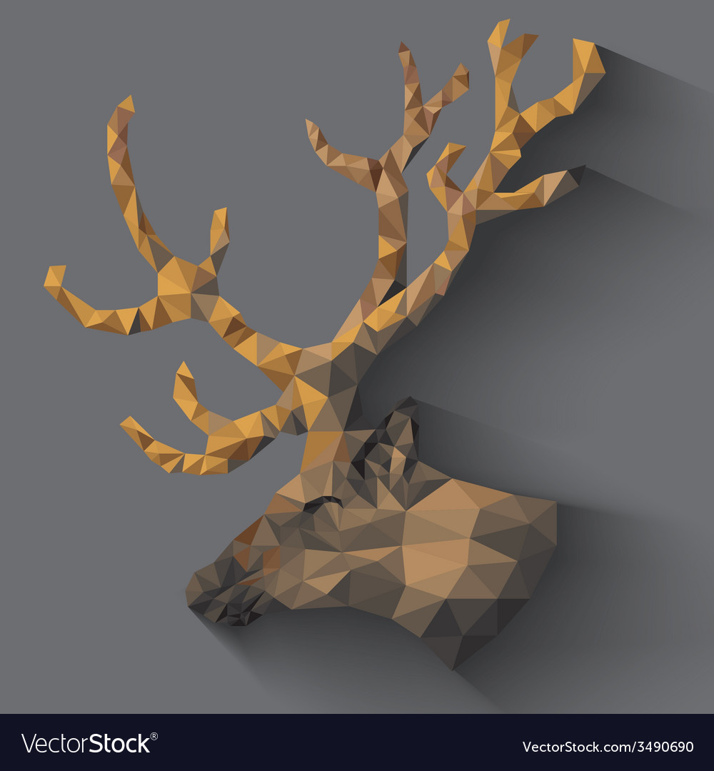 Reindeer in triangles vector | Price: 1 Credit (USD $1)