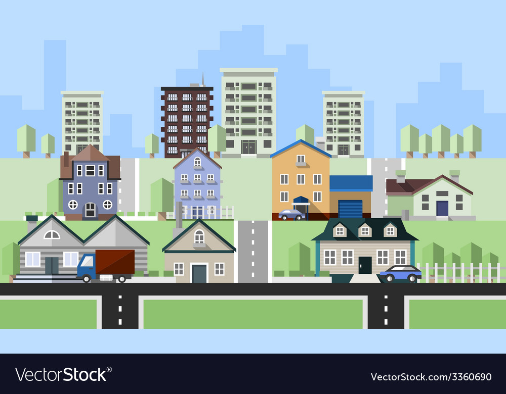 Residential house buildings vector   Price: 1 Credit (USD $1)