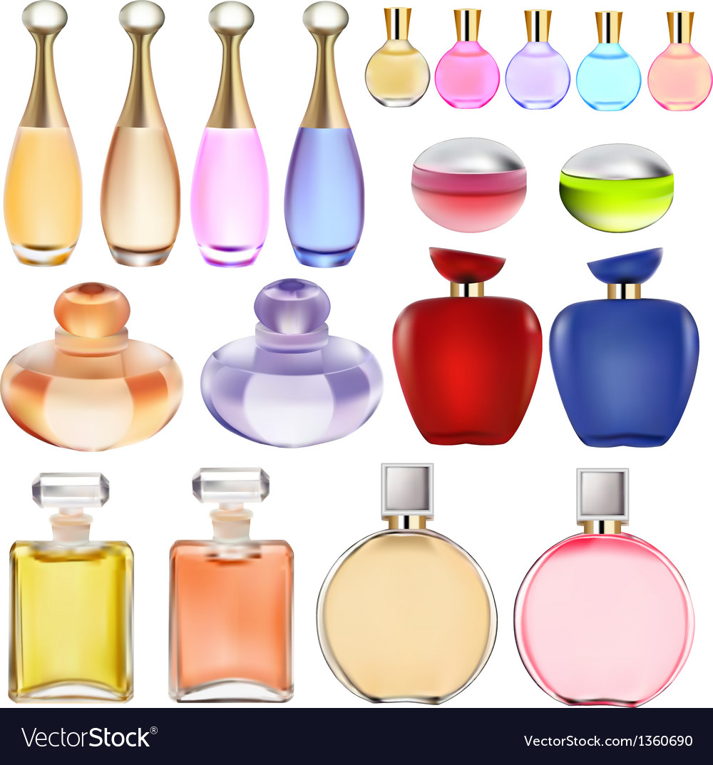 Set of perfume bottles vector
